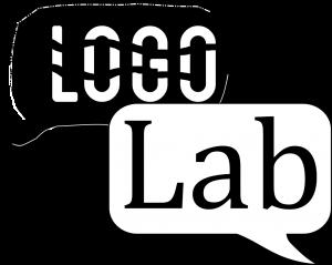 Artystyczna grafika przedstawiająca logo LogoLab. Nagrafice widnieją dwa dymki wkolorze czarnym ibiałym