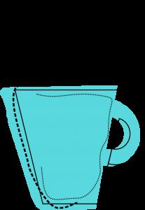 Artystyczna grafika przedstawiająca kubek