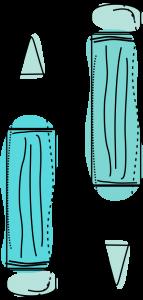 Artystyczna grafika wkolorze zielonym, któraprzedstawia dwa ołówki