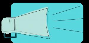 Artystyczna grafika wkolorze zielonym przedstawiająca megafon