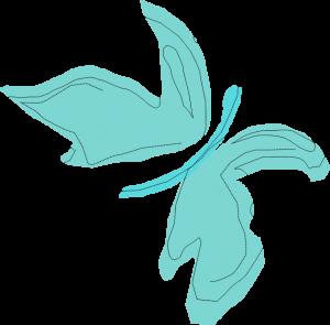 Artystyczna grafika wkolorze zielonym przedstawiająca motyla.