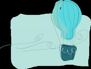 Artystyczna grafika wkolorze zielonym. Grafika prezentuje balon pasażerski, któryswobodnie dryfuje wpowietrzu