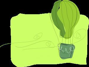 Artysytczna grafika wkolorach zieleni, któraprzedstawia lecący balon