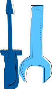 Artystyczna grafika wkolorze błękitu. Grafika przedstawia śrubokręt orazklucz