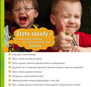 """Plakat podtytułem: """"Złote zasady – najważniejsze wskazówki wspierające płynność mowy dziecka"""""""